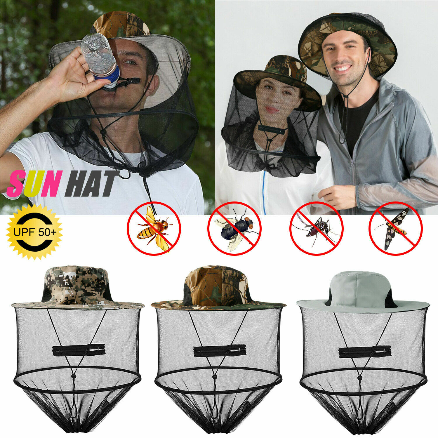 Anti-Mosquito Bug Fly Bee Insect Head Net Hat Cap Sun Protection Fishing Hiking Camping & Hiking