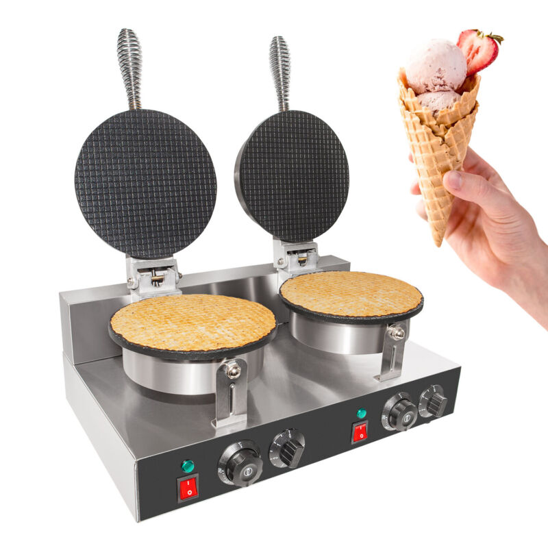Waffle Cone Maker | Commercial Double Ice Cream Waffle Cone Maker | Teflon