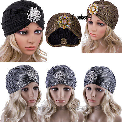 Women's Vintage Lurex Knit Turban Beanie Hats Headwraps For 1920s Cocktail Party