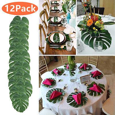 Luau Party Decorations (12Pack Tropical Hawaiian Artificial Palm Leaves Jungle Foliage Luau Party)