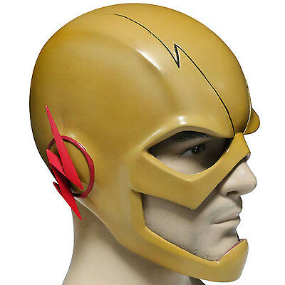 Reverse Flash Mask The Flash Cosplay Yellow PVC Full Head Adult Halloween Helmet - Flash Mask