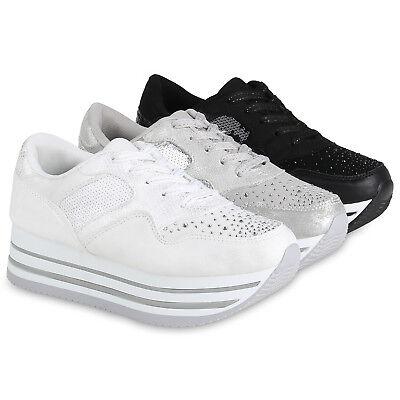 80b419c92c3d60 Damen Plateau Sneaker Lack Sportschuhe Strass Freizeit 820540 Schuhe