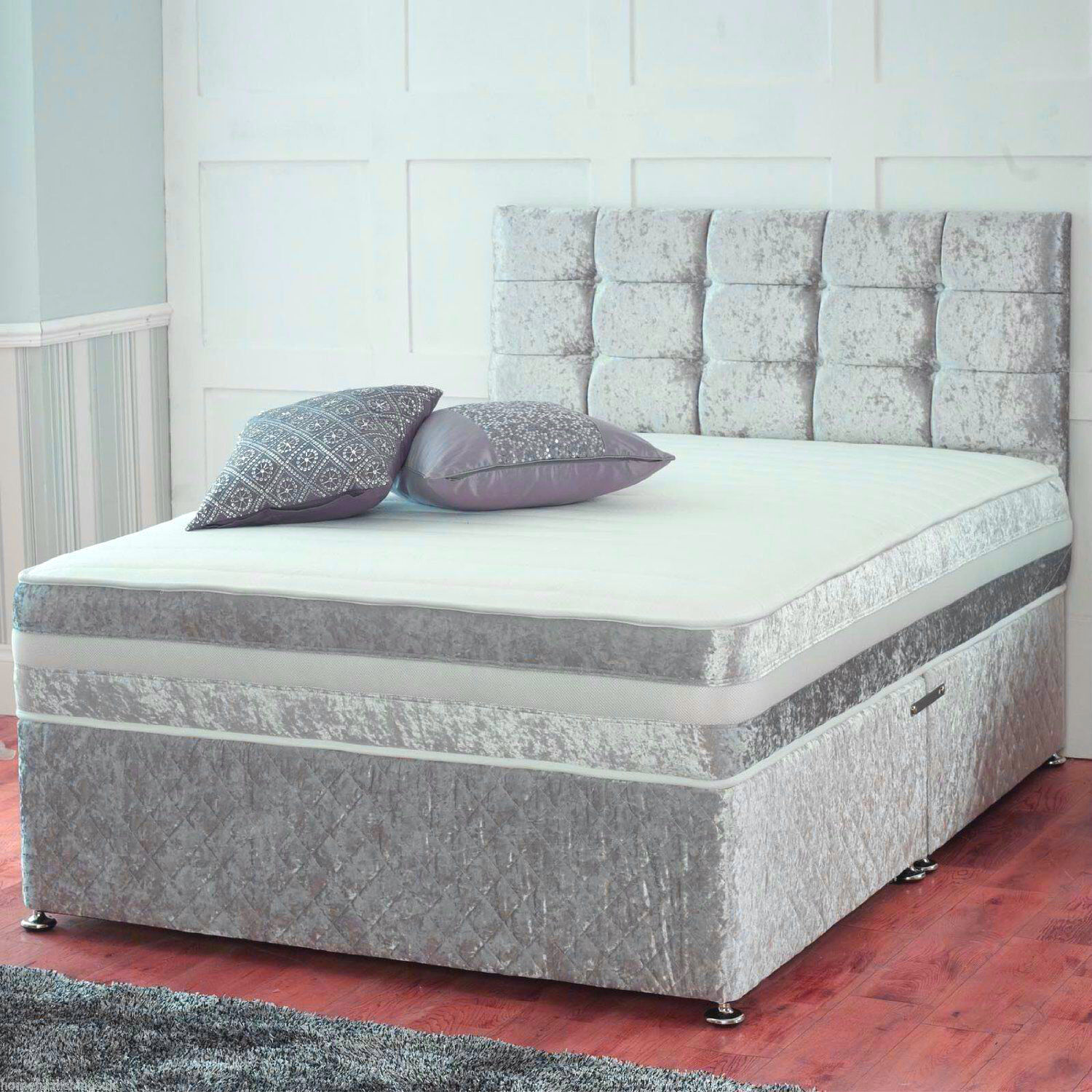 CRUSHED VELVET DIVAN BED WITH UNDER BED STORAGE   ORTHOPEDIC MATTRESS ALL  SIZES. CRUSHED VELVET DIVAN BED WITH UNDER BED STORAGE   ORTHOPEDIC