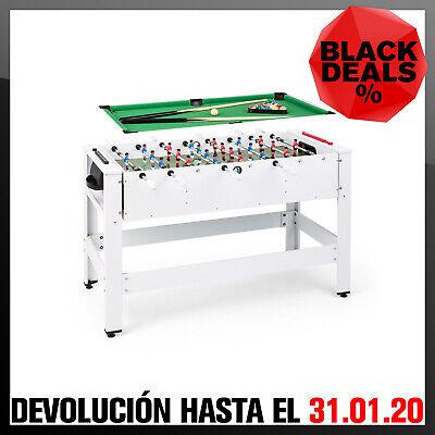 Mesa de juego billar futbolín intercambiables 180º accesorios de juego Blanco