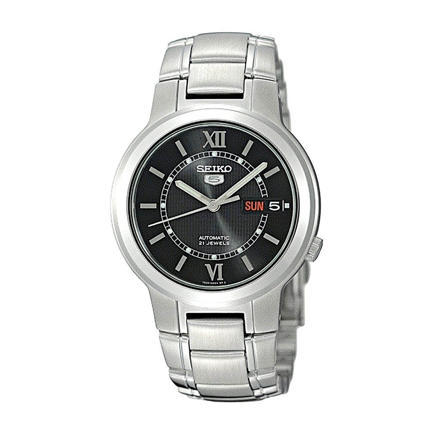 seiko-5-snka23-mens-stainless-steel-black-roman-dial-day-date-automatic-watch