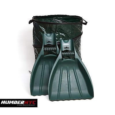 2x Leaf Scooper - Hand Rake Tool Grabbers Yard & Garden + Composting Garbage Bag Garden Hand Rake