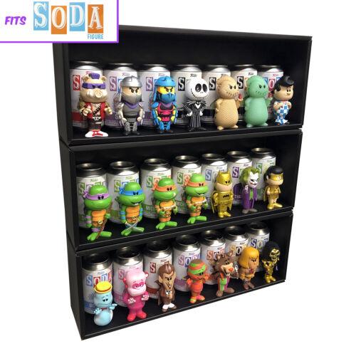 SODA 3 Single Row Display Cases for Funko Sodas, Black Cardboard