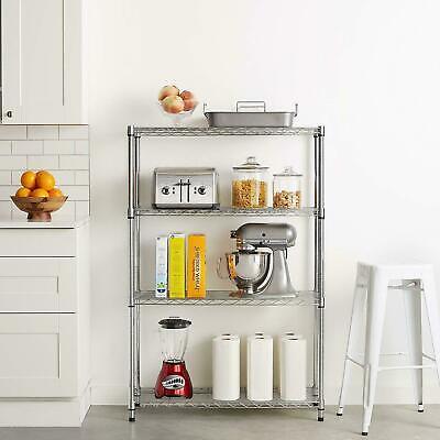 4 Tier Steel Wire Shelf Rack Heavy Duty Storage Shelving Unit For Kitchen Pantry