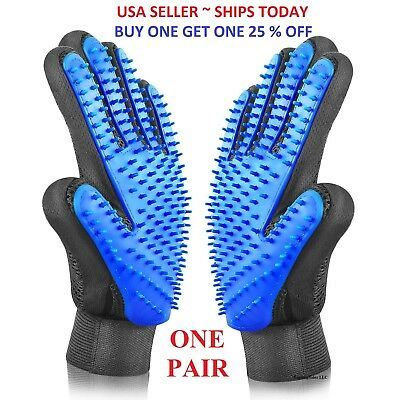 Pet Hair Remover Glove Brush Dog Cat Grooming Massage Soft Bath Shedding Glove