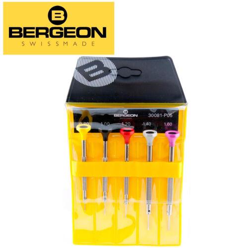 Bergeon 30081-P05 Set Of 5 Watchmakers Ergonomic Screwdrivers, Swiss Made - NEW!