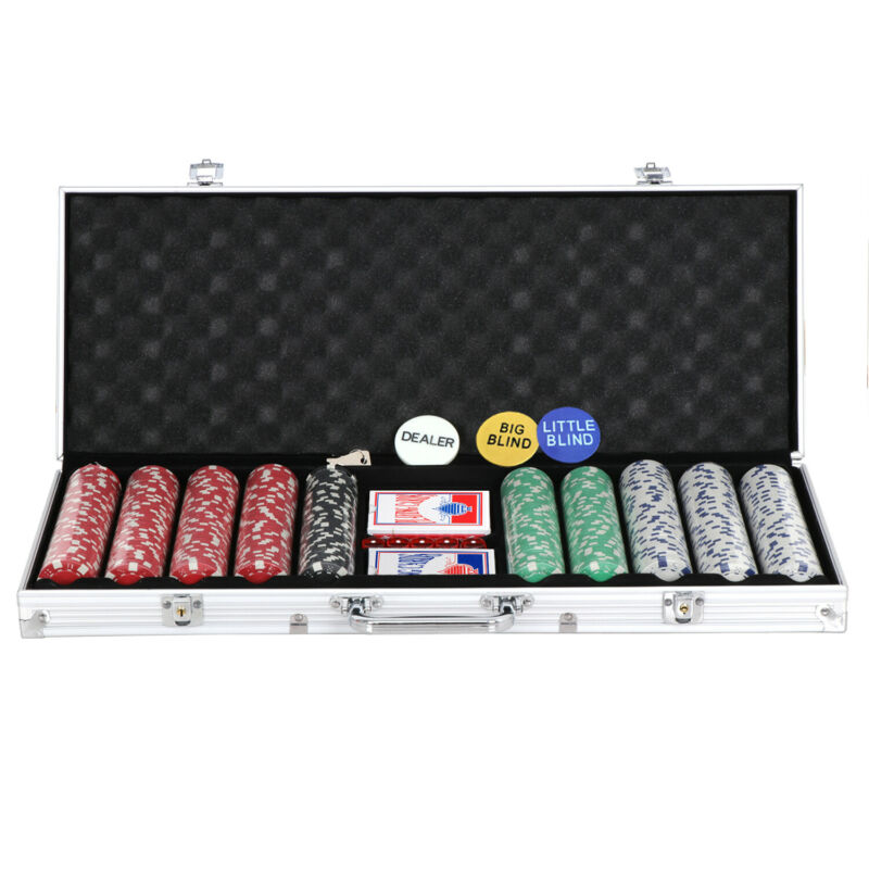 Poker Chip Set 500 Chips 5 Dices Texas Hold
