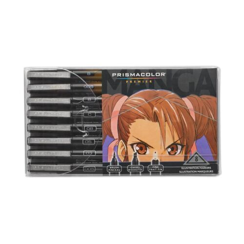 Prismacolor Premier Manga Illustration Markers, Assorted Tips, Black & Sepia