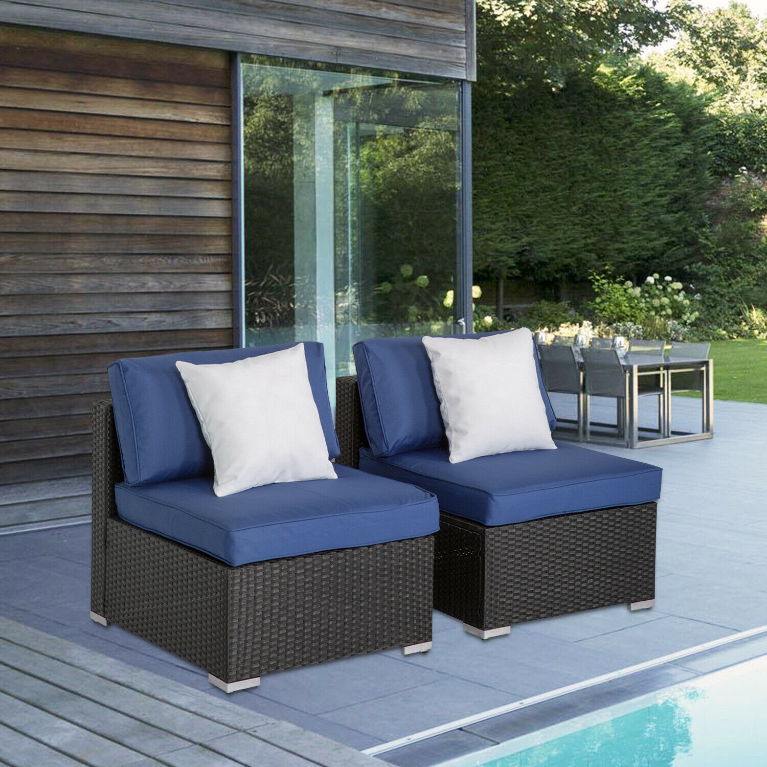 Garden Furniture - 2PC Garden PE Rattan Middle Sofa Dark Blue Cushion Couch Outdoor Patio Furniture