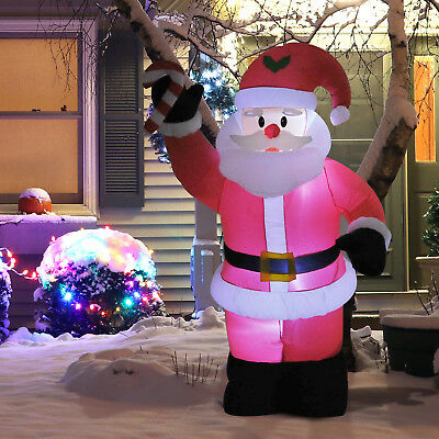 8ft Inflatable Christmas Santa Claus Respite Airblown Yard Garnish Led Unclear