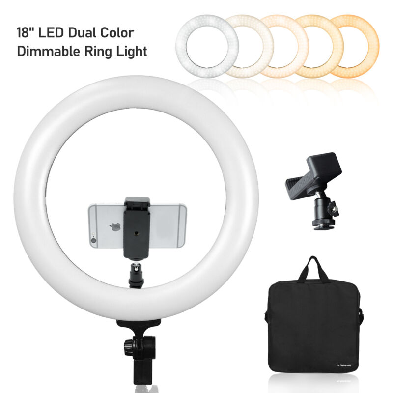 18inch LED Ring Light Dimmable Lighting Studio Light Kit for YouTube Video Vlog