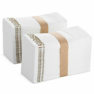 (100-Pack) White and Gold Disposable Hand Towels & Decorative Bathroom Napkins - Decorative Disposable Hand Towels