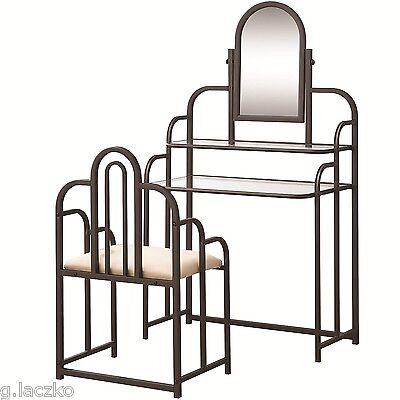 2-Piece Vanity Set Dresser Table Seat Mirror Dark Iridescent Brown Vintage New