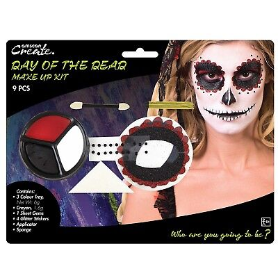 Day Of The Dead Sugar Skull Halloween Make Up Face Paint Fancy Dress Costume Kit