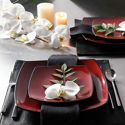 Beautiful 16-Piece Black And Red Dinnerware Set Round Square Plates Bowls Mugs