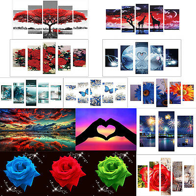 Blue Flowers 5D DIY Full Drill Diamond Painting 5-pictures Combination Kits Art