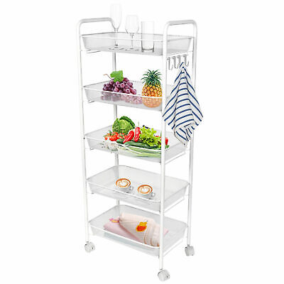 Mesh Wire Rolling Cart on Wheels Utility Cart Kitchen Storage Cart with 4 -