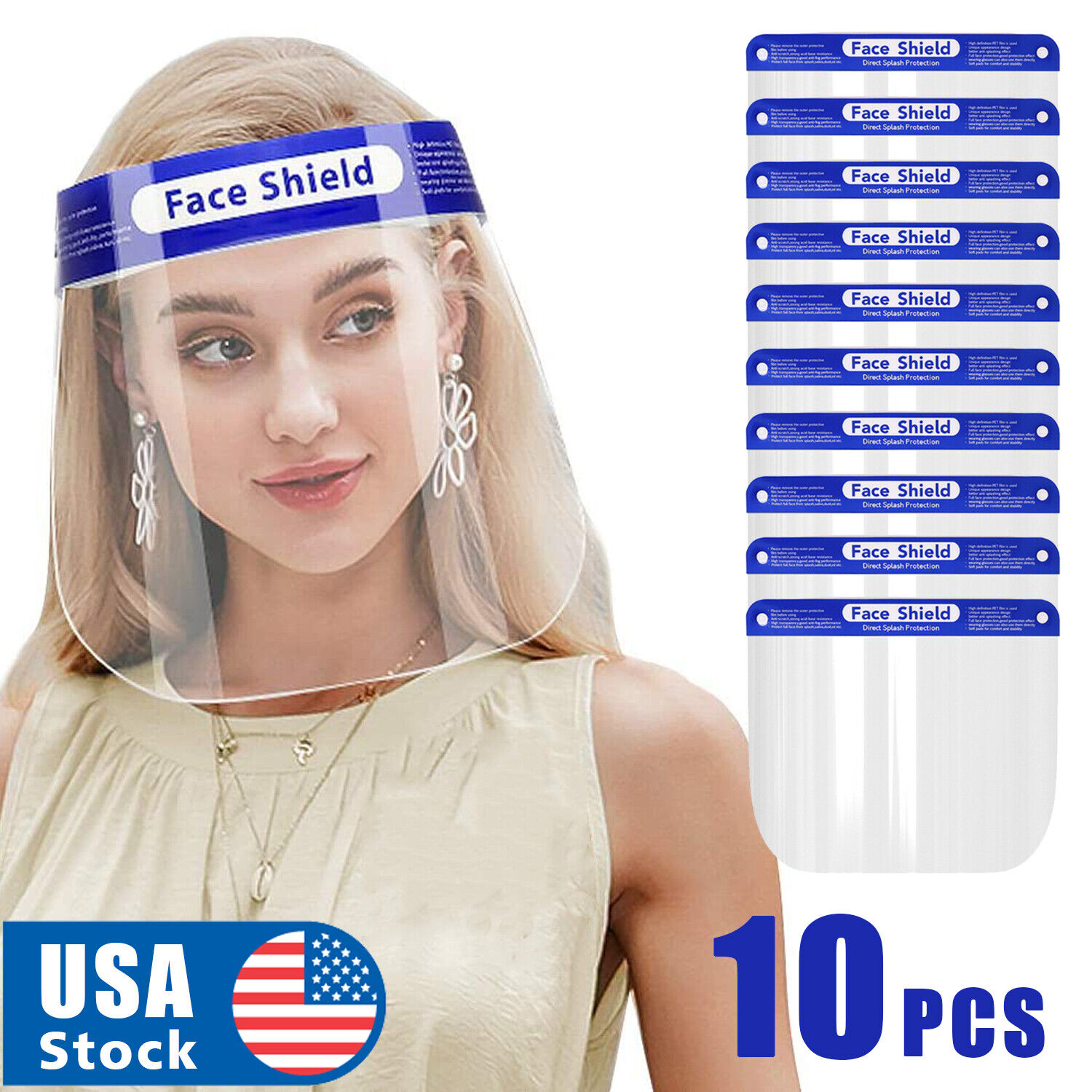 10PCS Full Face Shield Reusable Washable Protection Cover Face Mask Anti-Splash Clothing, Shoes & Accessories