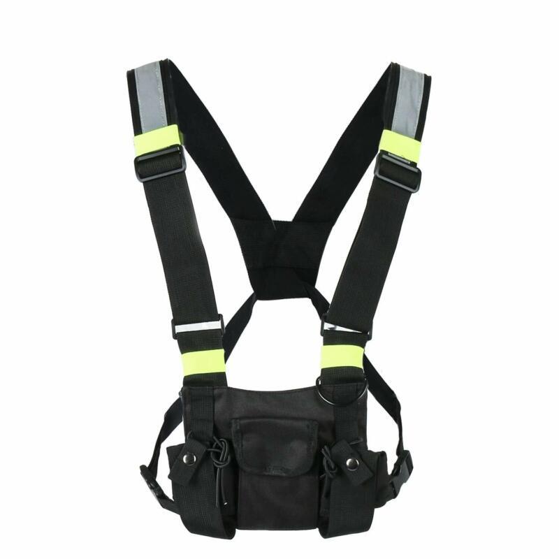 3 Pocket Radio Chest Harness Pouch Walkie Talkie Holster Holder Vest Rig Bag