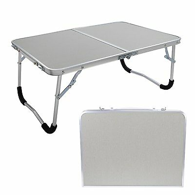 2FT Aluminum Folding Camping Garden Short TABLE Outdoor PARTY READING WhiteTable