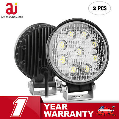 Pair 4Inch 27w Round Spot Beam Led Work Light Driving Fog Lights Front Bumper 6