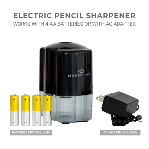 MackOffice Electric Pencil Sharpener, Heavy Duty Auto-Stop, Ultra-Portable. For