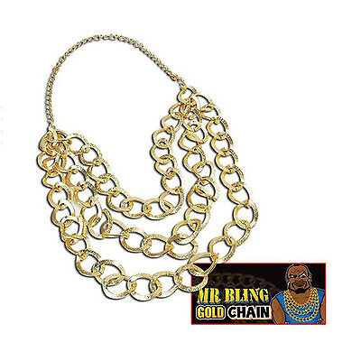 Mr T Gold Necklace A Team 80's Bling Gangster Rapper Fancy Dress BA Baracus