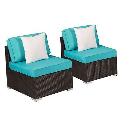 2 PC Outdoor Patio Sofa Sectional Furniture PE Wicker Rattan Deck Couch