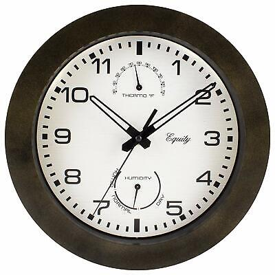 """Weather Sealed Case Outdoor Thermometer & Humidity Wall Clock 10"""" Pool Patio"""