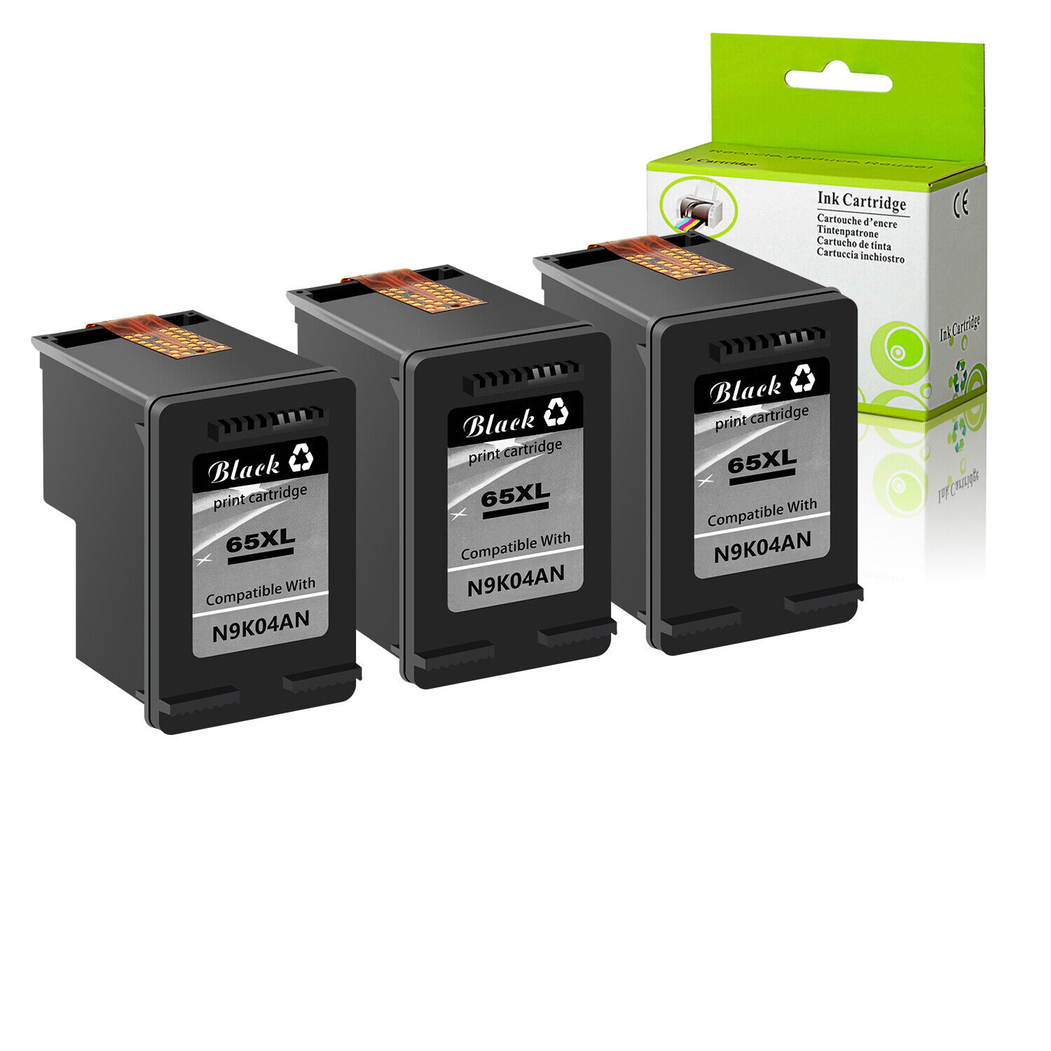 3PK 65XL high yield Black Ink Cartridge for HP DeskJet ...