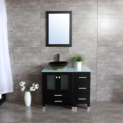 36''Bathroom Vanity Cabinet Top Single Vessel Sink and Faucet -