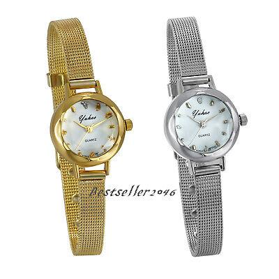 (Women Ladies Girls Quartz Wrist Watches Small Dial Mesh Stainless Steel Bracelet)