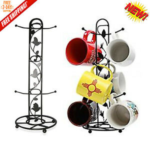 Coffee Tea Mugs Tree Storage Holder Cup Rack Organizer Kitchen Mug Hooks Black
