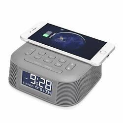 InstaBox D10 Wireless Charging Alarm Clock FM Radio with Dual Bluetooth Speaker