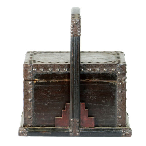 Antique Chinese Small Wood Food Box Carrier with Metal Decorative supports