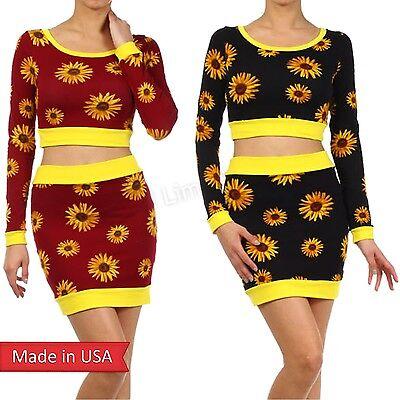 SET Sunflower Floral Print Black Burgundy Cropped Shirt & Mini Pencil Skirt USA