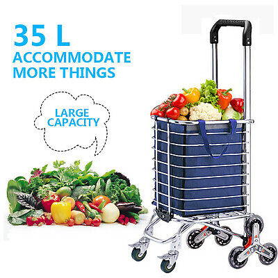 3235l Folding Shopping Cart Basket Grocery Laundry Travel With 68 Stair Wheels