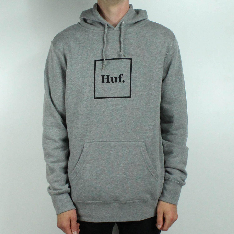 neuer Stil & Luxus Outlet-Boutique tolle Preise Details about HUF Box Logo Pullover Hoodie Sweatshirt – Grey in size M,L