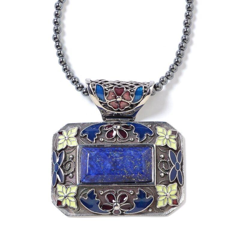 "Lapis Lazuli Hematite Beads Flower Chain Pendant Necklace for Women 18"" Ct 60"