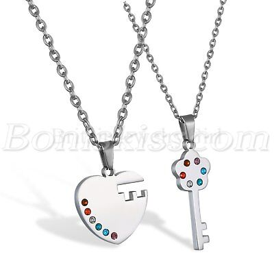 Couples Stainless Steel Heart Key Rainbow Lesbian Gay Pride Pendant Necklace - Gay Pride Necklace