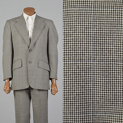 Medium 1970s 40R Houndstooth Suit Brown Flap Pockets Wide Lapel VTG Two Piece - Medium Two Piece Flap