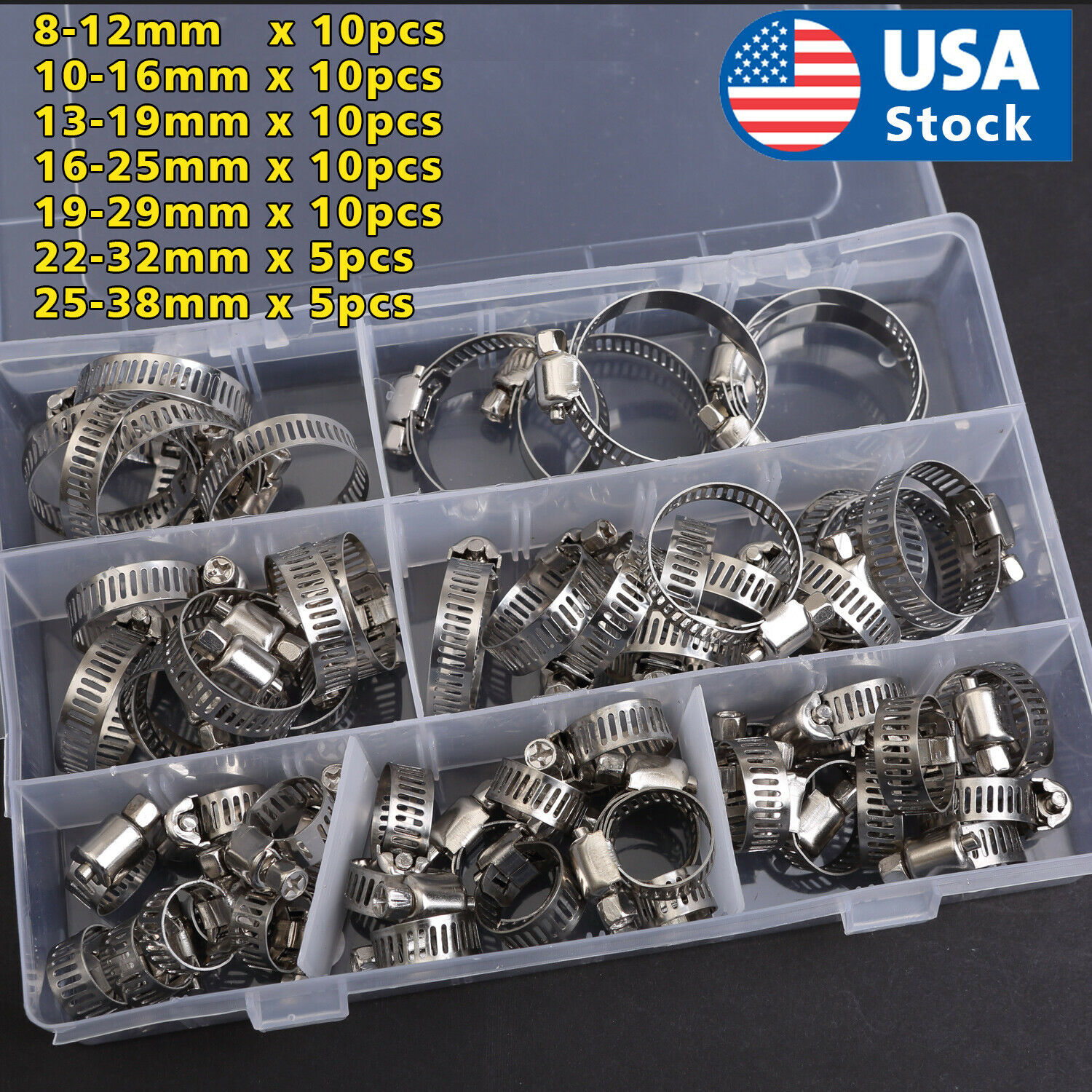 60 Pieces Adjustable Hose Clamps Worm Gear Stainless Steel Clamp Assortment Car & Truck Parts