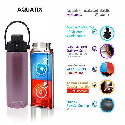 56505d0f78 New Aquatix Rose Gold Insulated FlipTop Sport Bottle 21 oz Pure Stainless  Steel