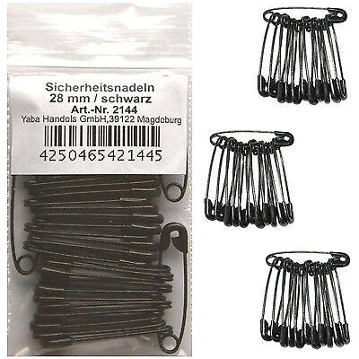 36 Sicherheitsnadeln schwarz 28 mm, Sicherheits-Schmuck-Nadel Nadeln klein, 2144