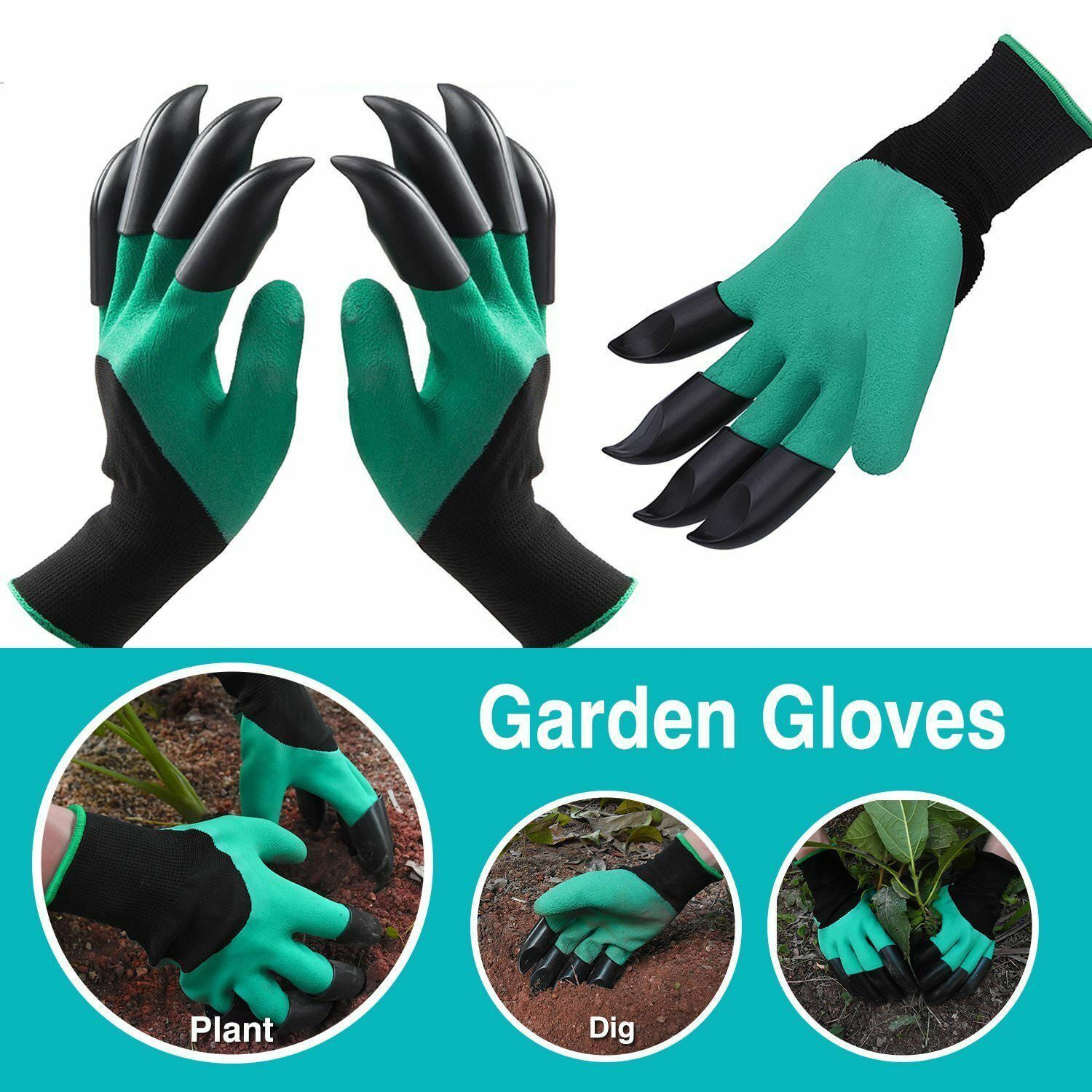 GARDEN GLOVES UNISEX ONE SIZE WITH BUILT IN CLAWS FOR EASY DIGGING GENIE STYLE