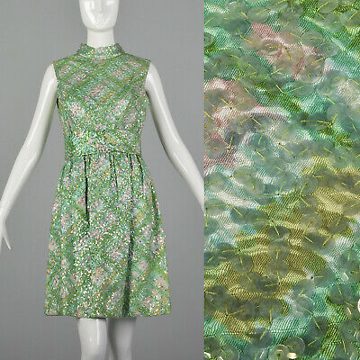 XS 1960s Sequin Watercolor Dress Vintage Cocktail VTG Party 60s Small High Neck](1960 Party Clothes)